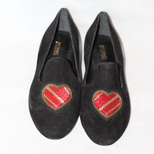 New Michael Kors Black Suede Heart Loafer 7